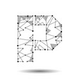 low poly letter p english latin cyrillic vector image