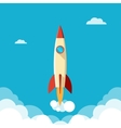 Ahead concept rapid fly of the rocket in a cloudy vector image vector image