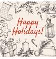 Christmas Greeting Happy Holidays vector image vector image