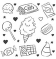 doodle of candy various hand draw vector image