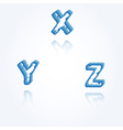 sketch jagged alphabet letters X Y Z vector image