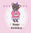 Sweet Happy Biryhday card with Bear vector image