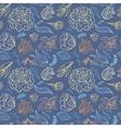 Blue Outline Floral Pattern vector image