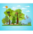 Poster Of Birds In Forest vector image