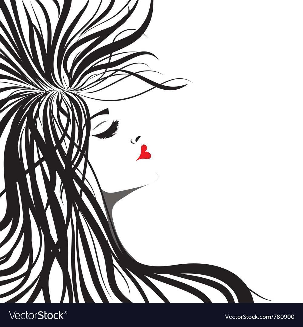 Heart lips girl vector