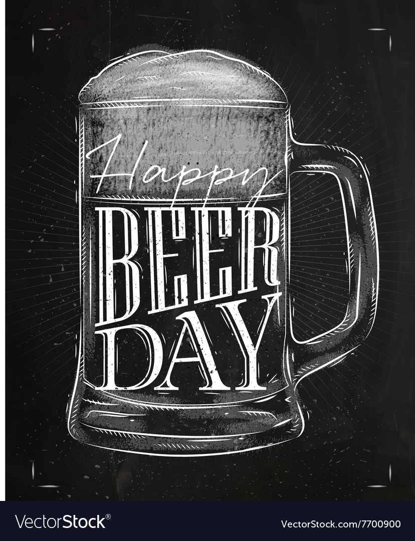 Poster beer day chalk vector