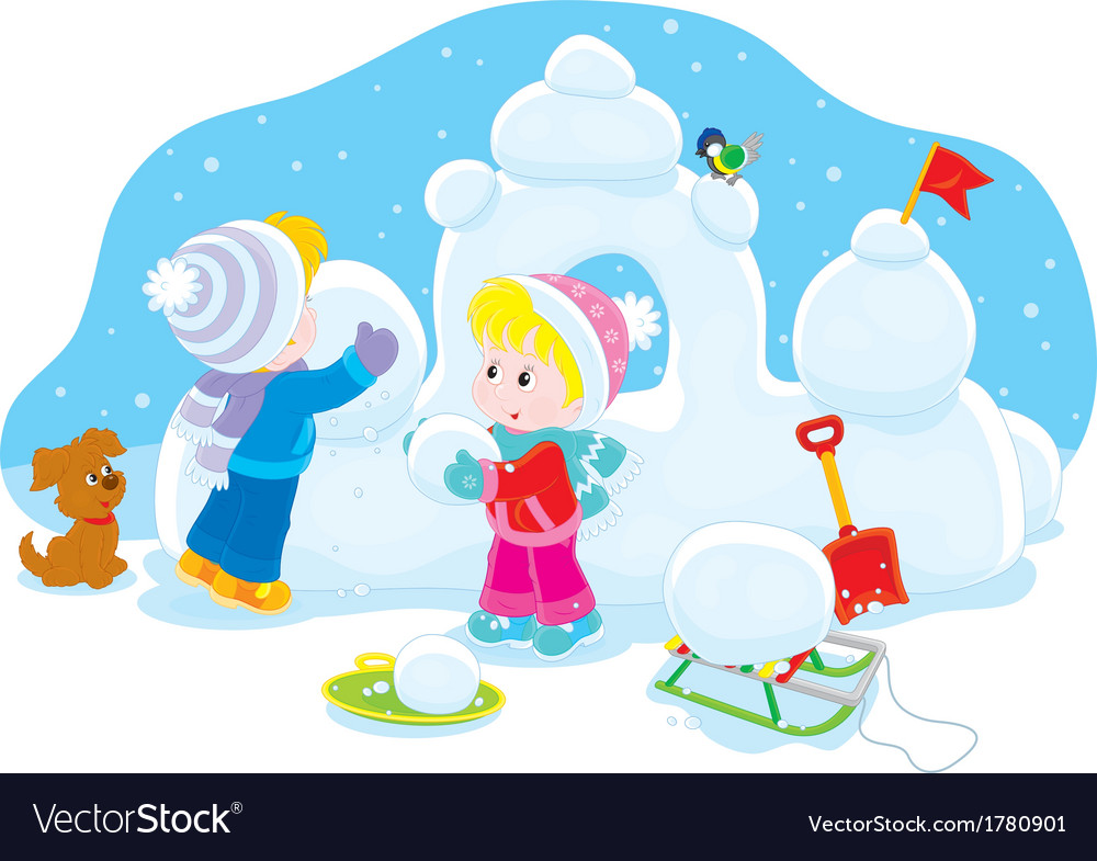 Children building a snow fort vector