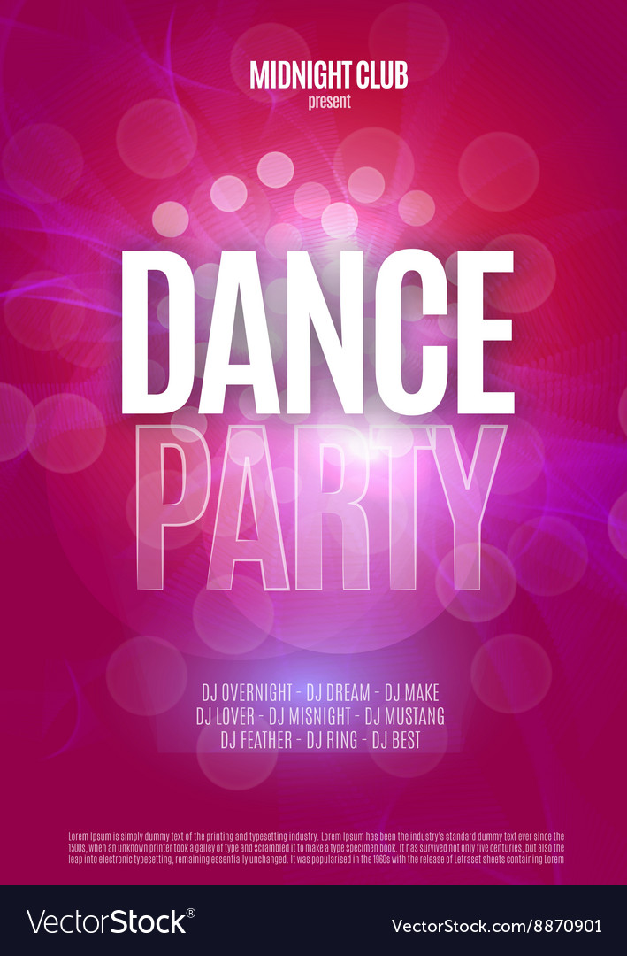 Dance party night poster background template vector