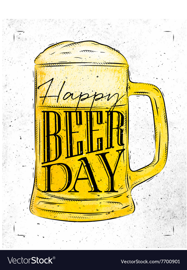Poster beer day vector