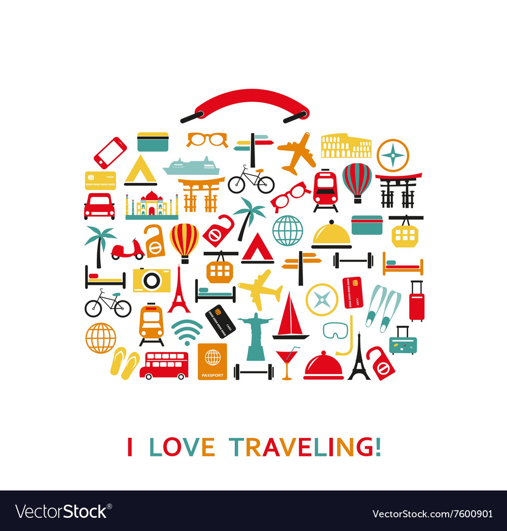 Sutecase from travel icons vector