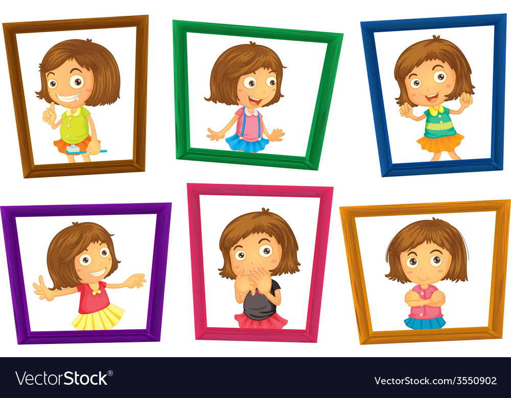 Children and frames vector