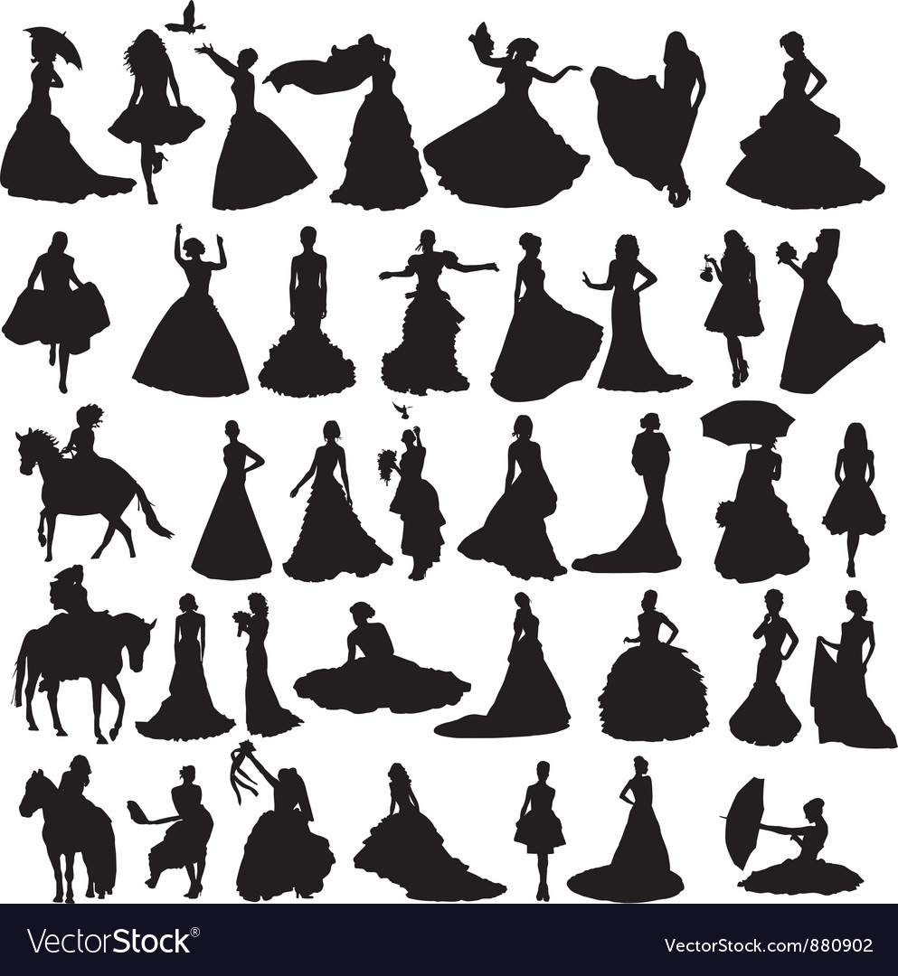 Many silhouettes of brides in different situations vector