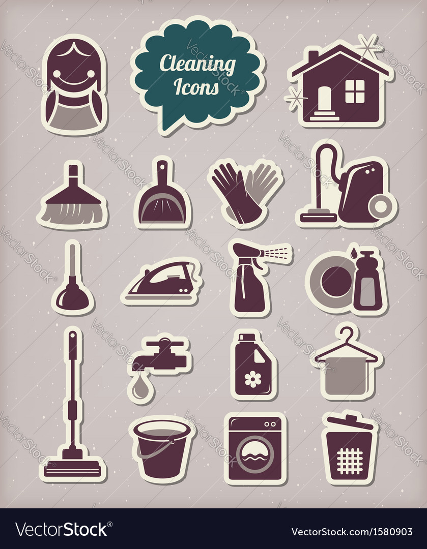 Cleaning icons paper cut style vector