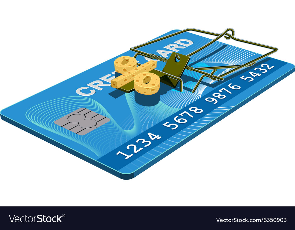Credit card trap bank interest free cheese in vector