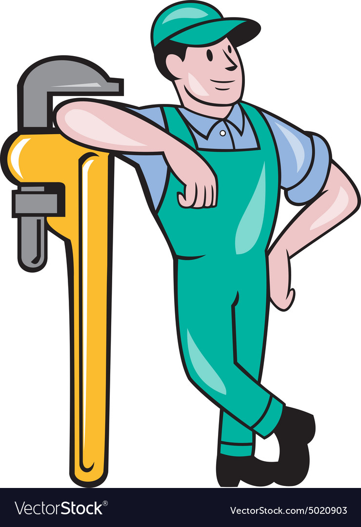 Plumber leaning monkey wrench isolated cartoon vector