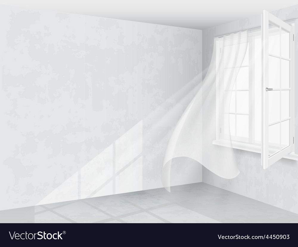 Window and curtains in bright interior vector