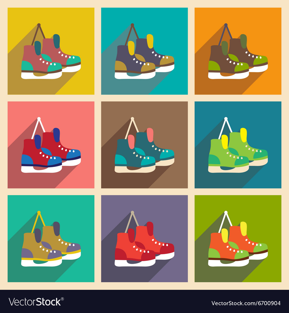 Set flat icons with long shadow pair of skates vector