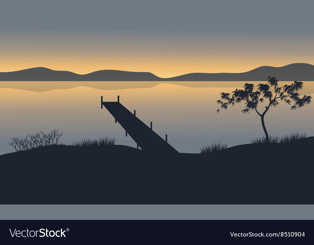Silhouette of pier in lake vector