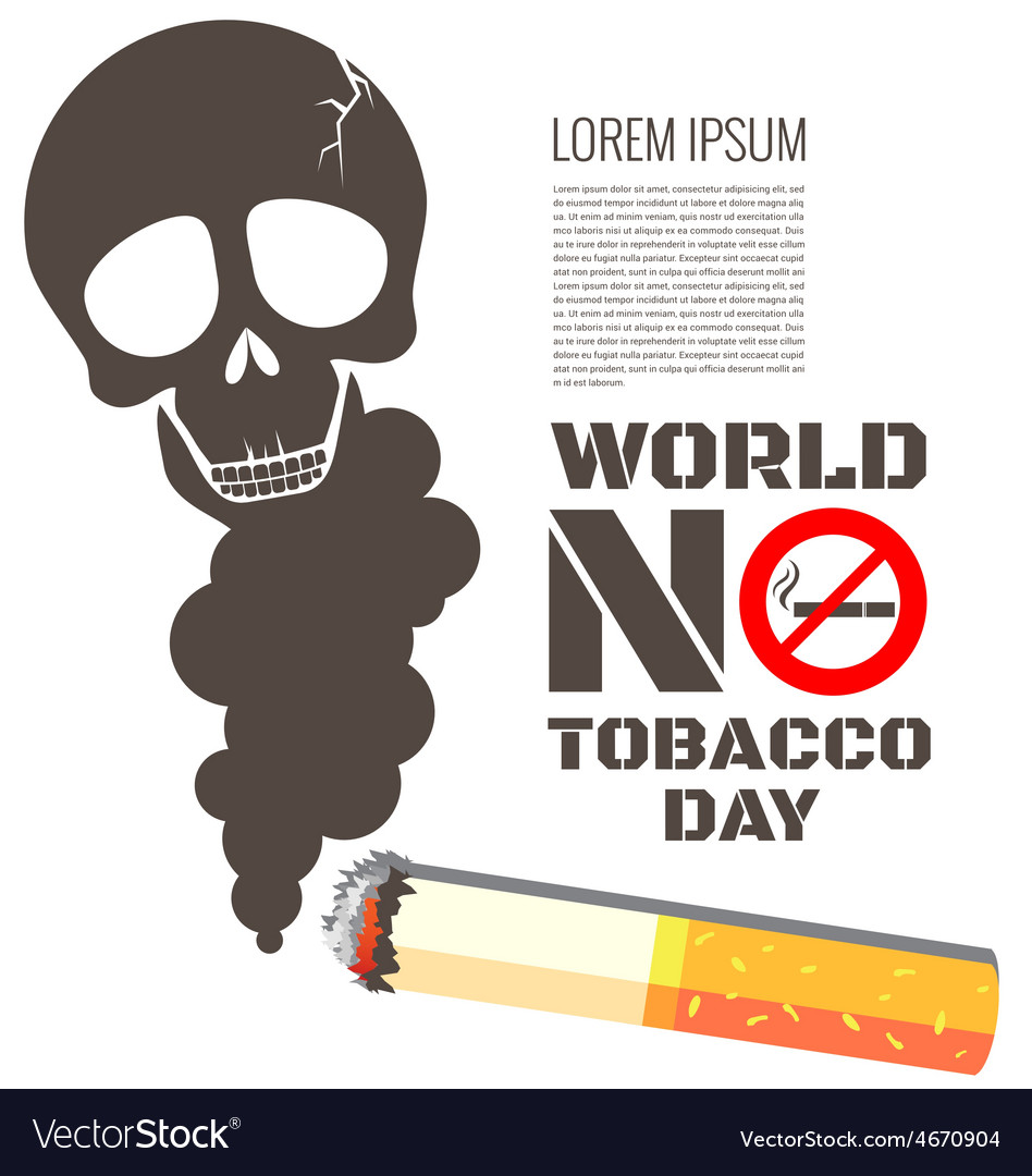 Skull shaped smoke with cigarette for world no vector