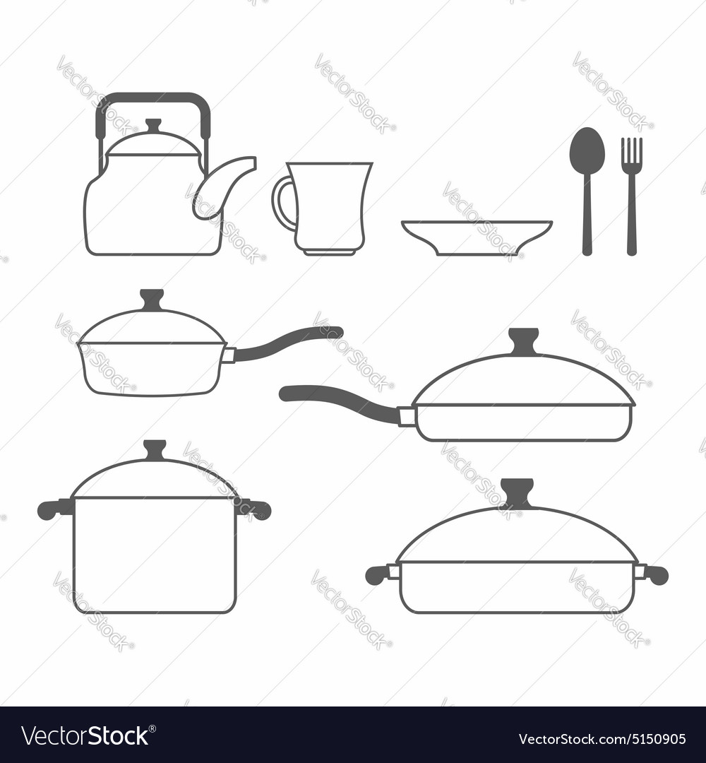 Set of dishes kitchen utensils of lines vector