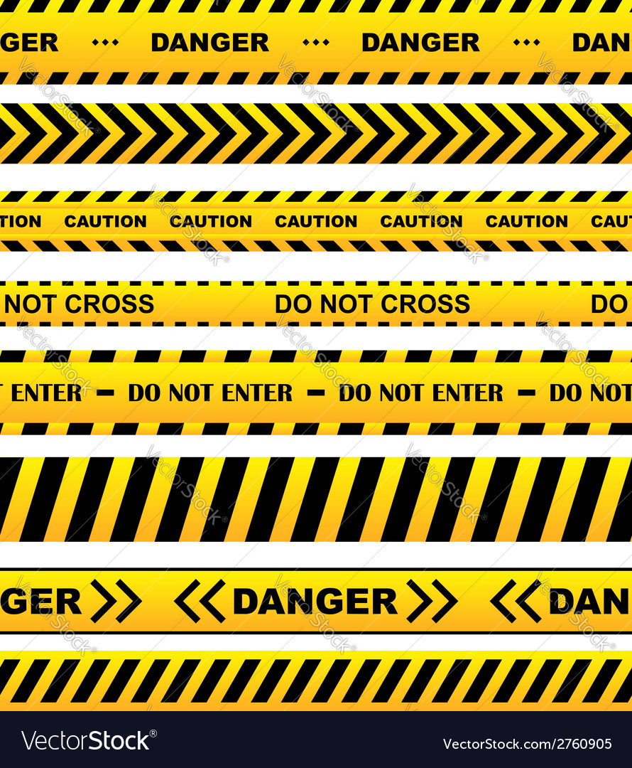 Yellow warning tapes set vector