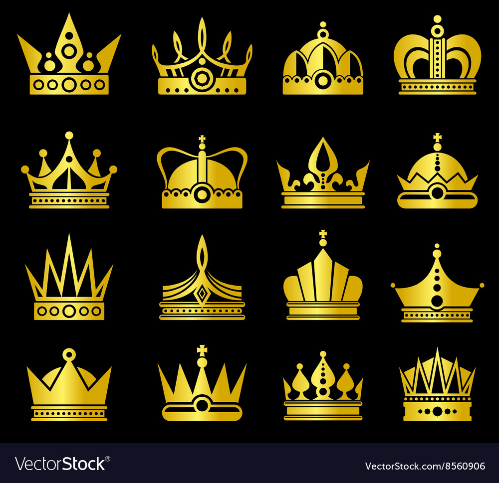 Gold crowns set vector