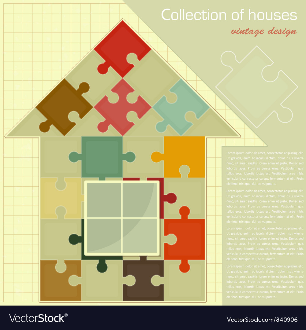 House puzzle vector