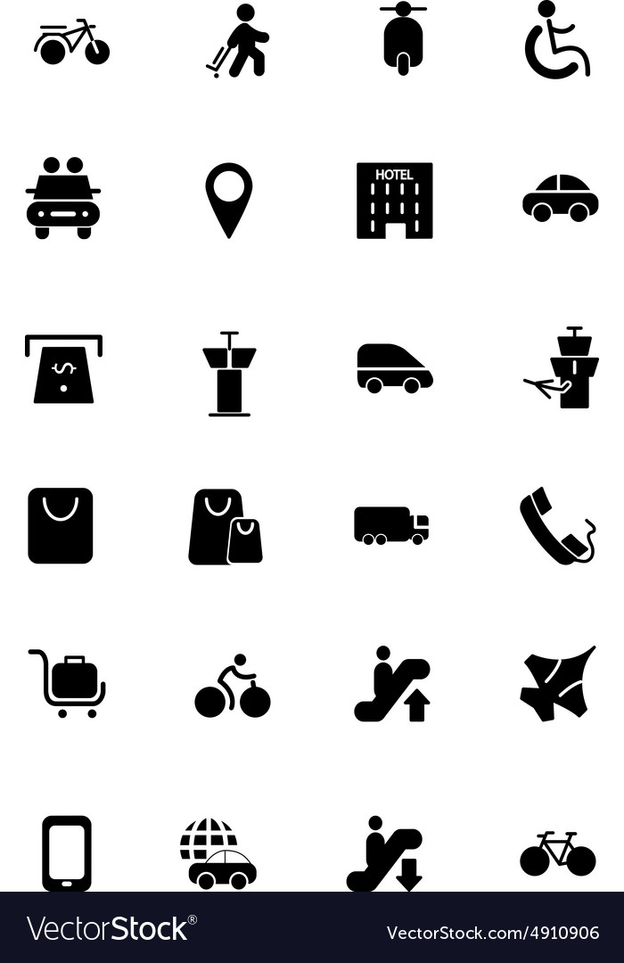 Travel solid icons 4 vector