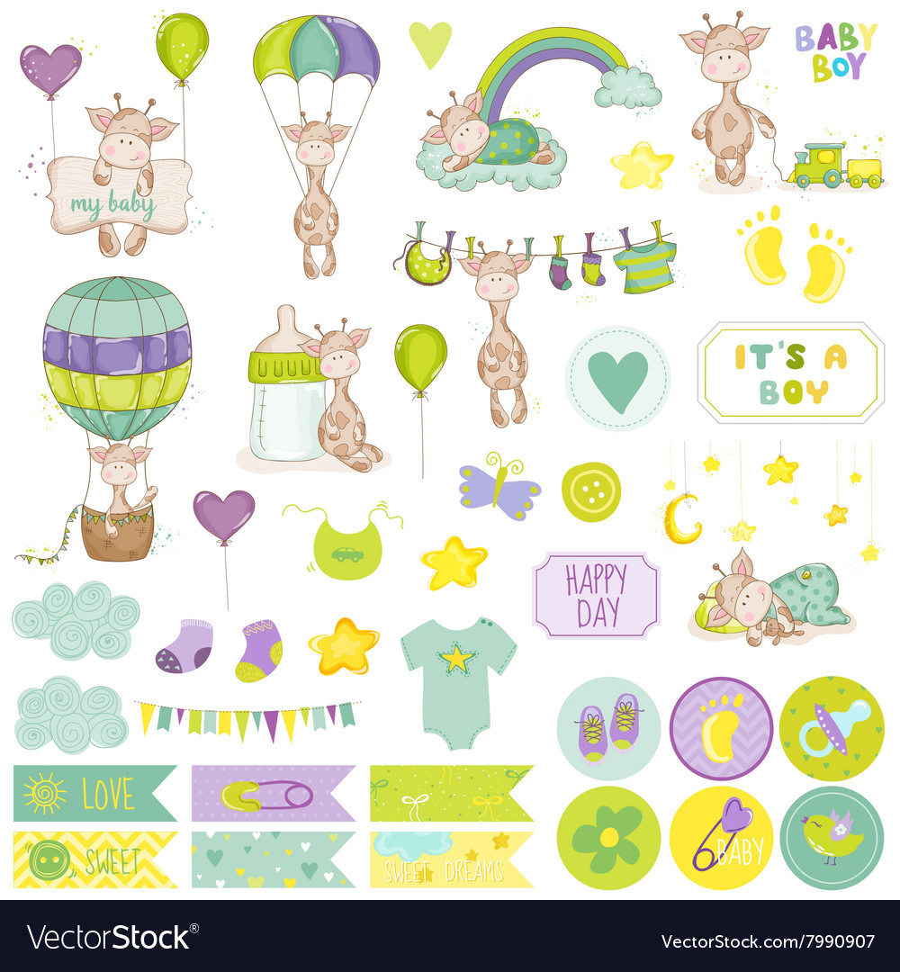 Baby boy giraffe scrapbook set vector