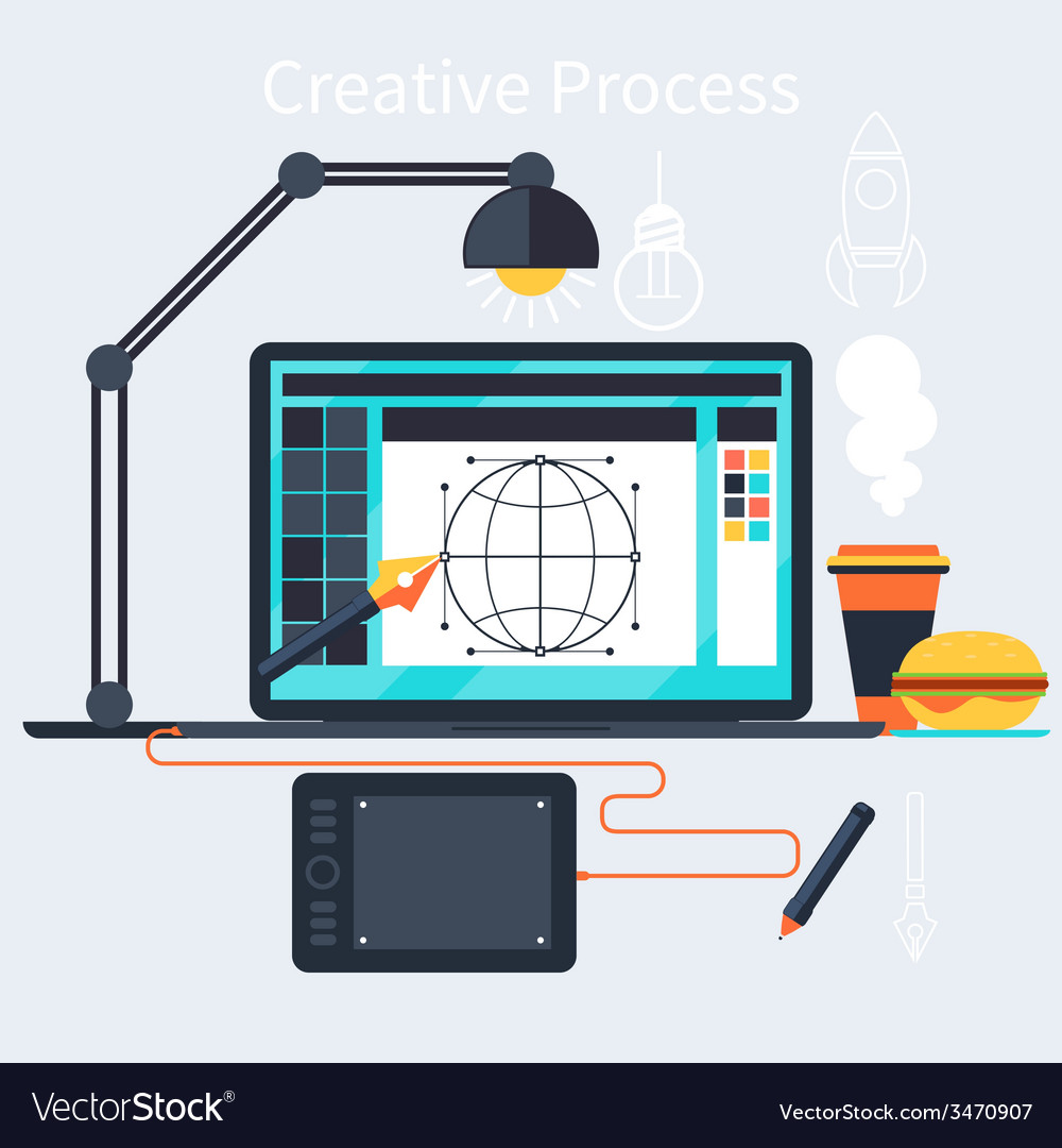 Creative process of designer concept vector
