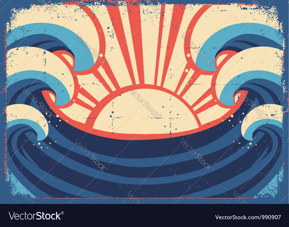 Sea postergrunge of sea landscape vector