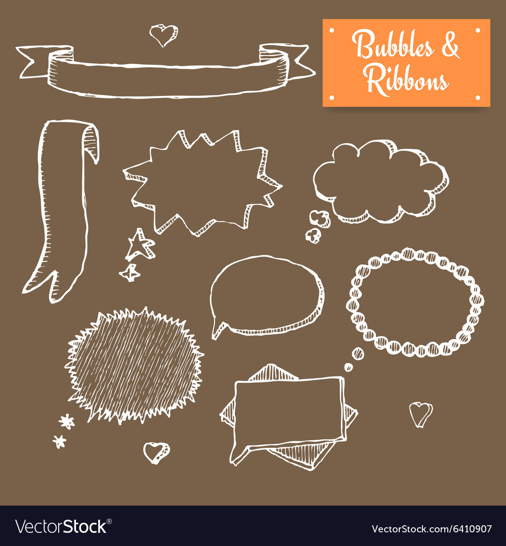 Sketch bubbles vector