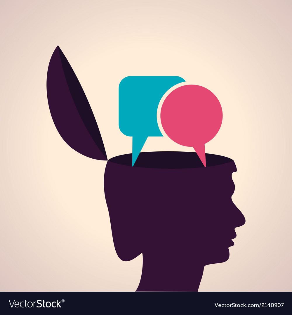 Thinking concepthuman head with message bubble vector