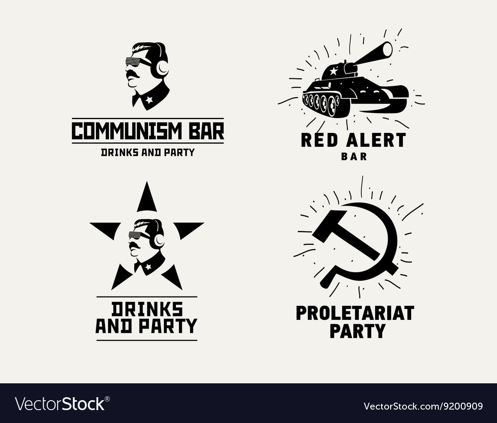 Communism style logos restaurant bar design vector