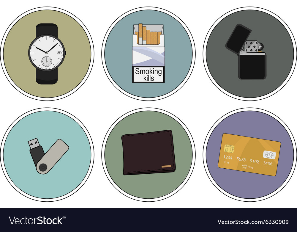 Every day carry detailed icons set vector