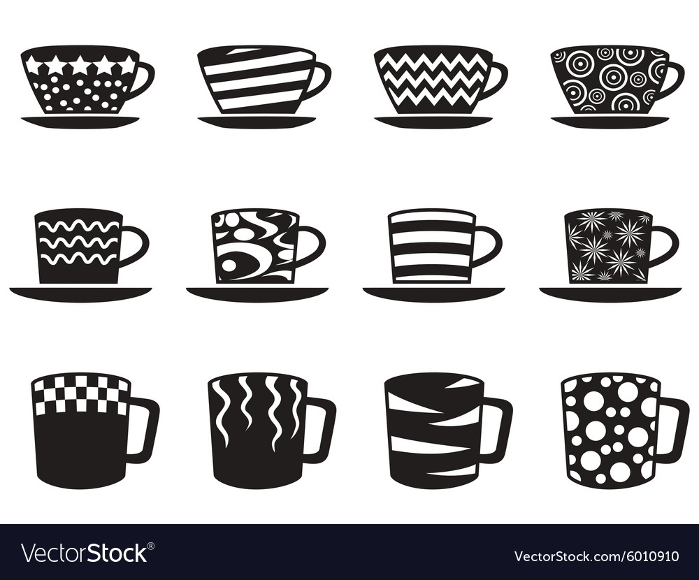 Coffee cup with patterns icons set vector
