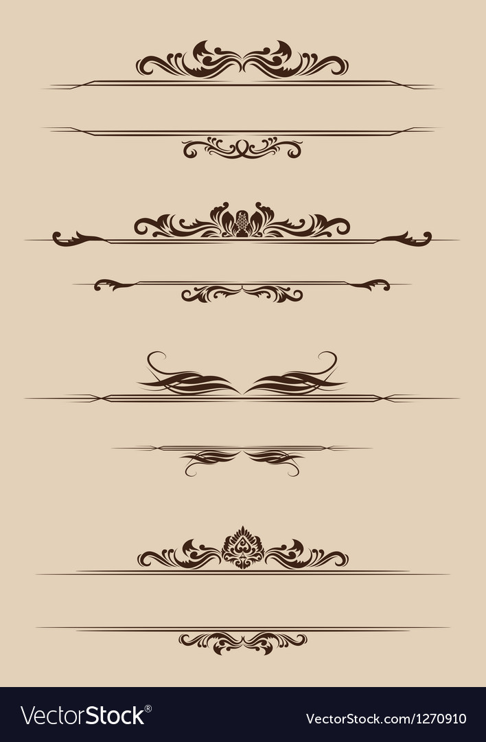 Ornament border set vector