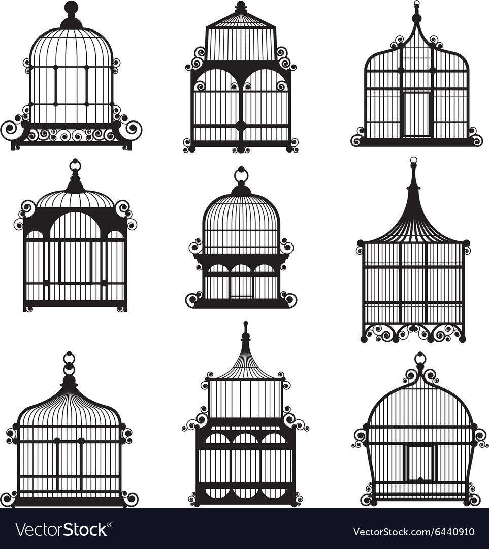 Set of 9 vintage birdcages vector