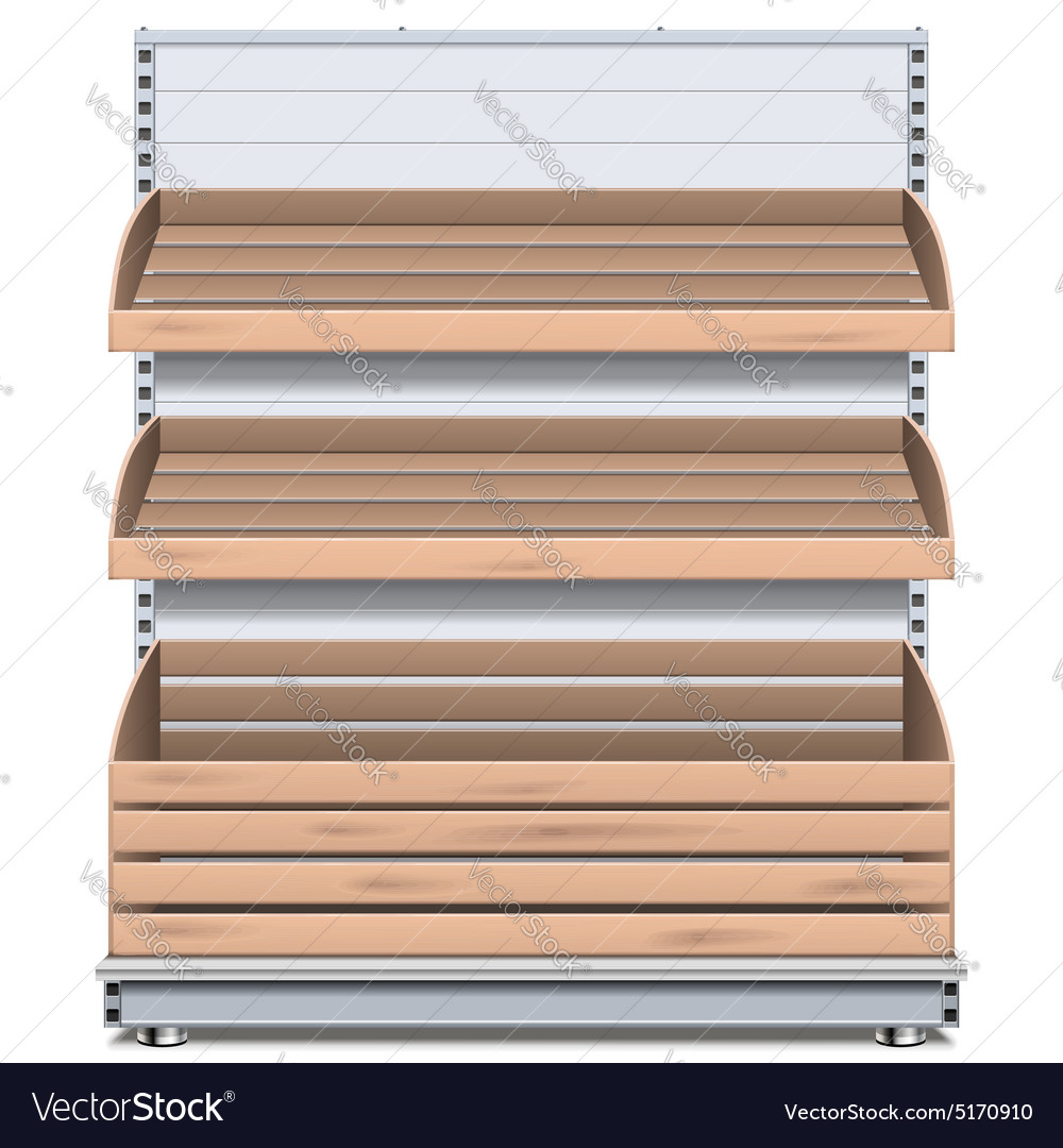 Supermarket bread shelf vector