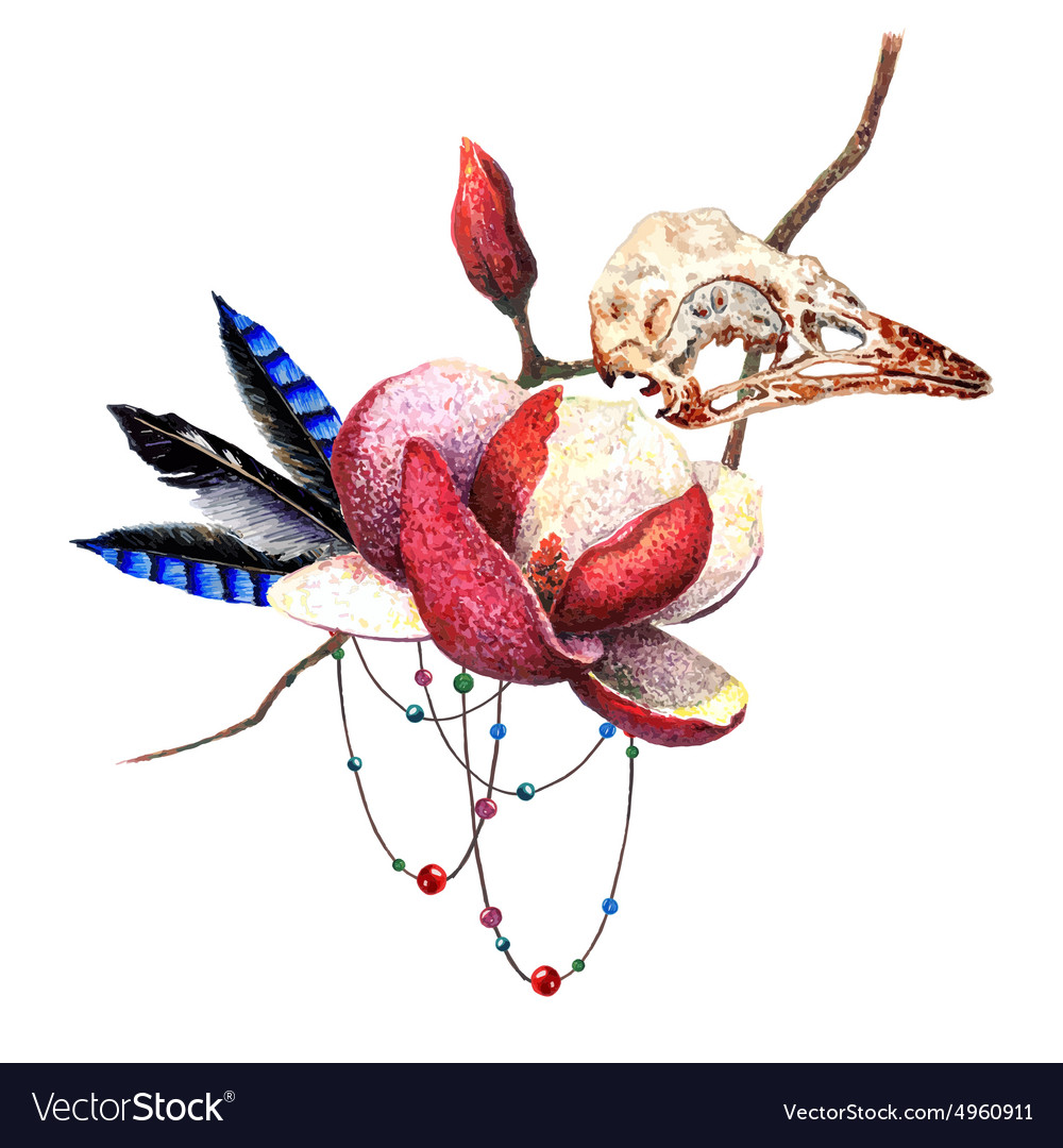 Magnolia and skull vector