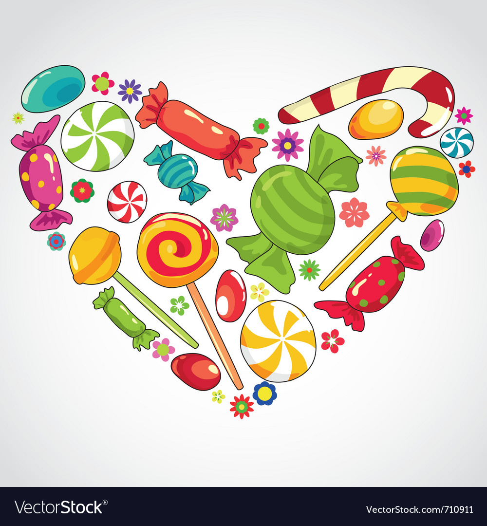 Sweets candy heart vector