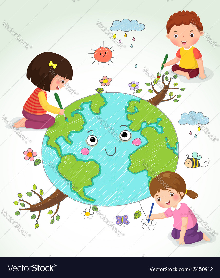 Kids drawing the earth vector
