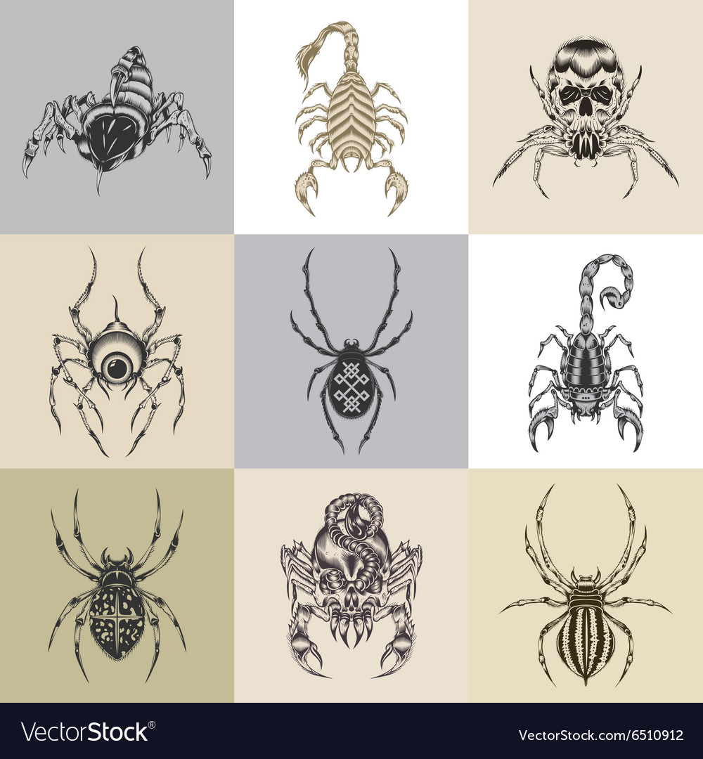 Set of nine tattoo vector
