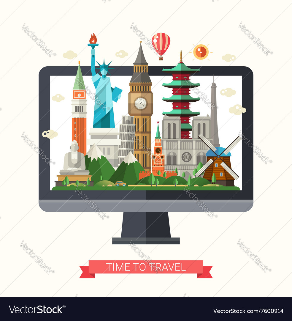 Flat design with world famous vector