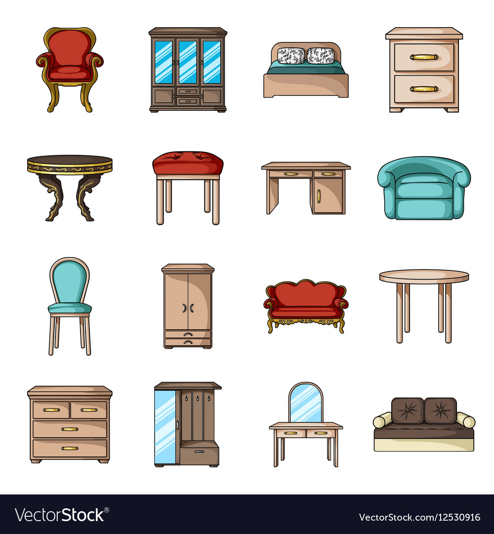 Furniture and home interior set icons in cartoon vector