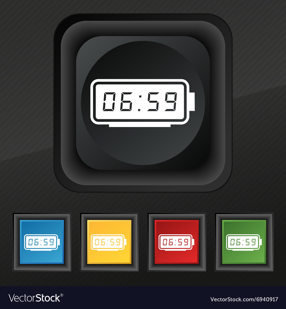Alarm clock icon symbol set of five colorful vector