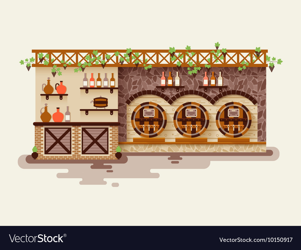 Interior of wine shop sale whiskey vector