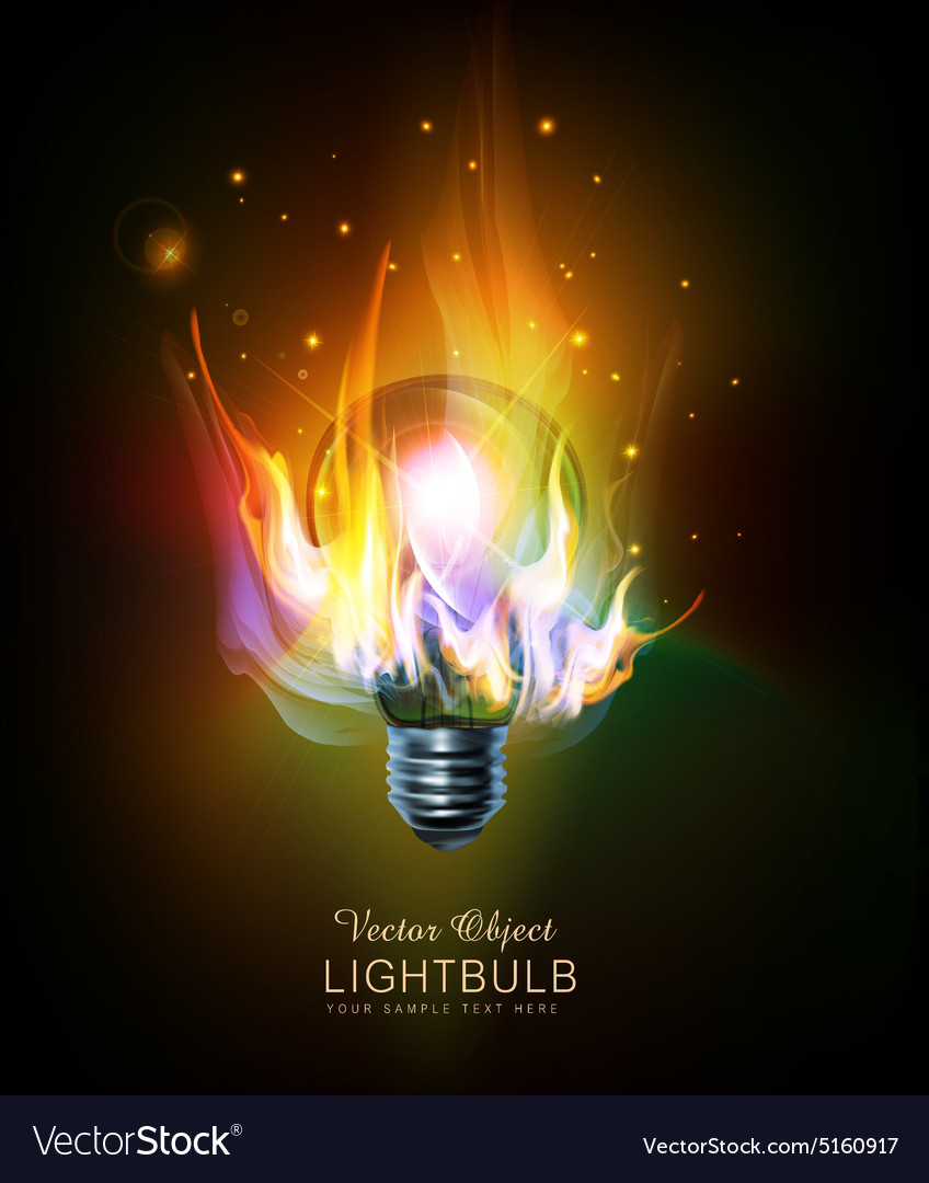 Light bulb with a burning fire vector