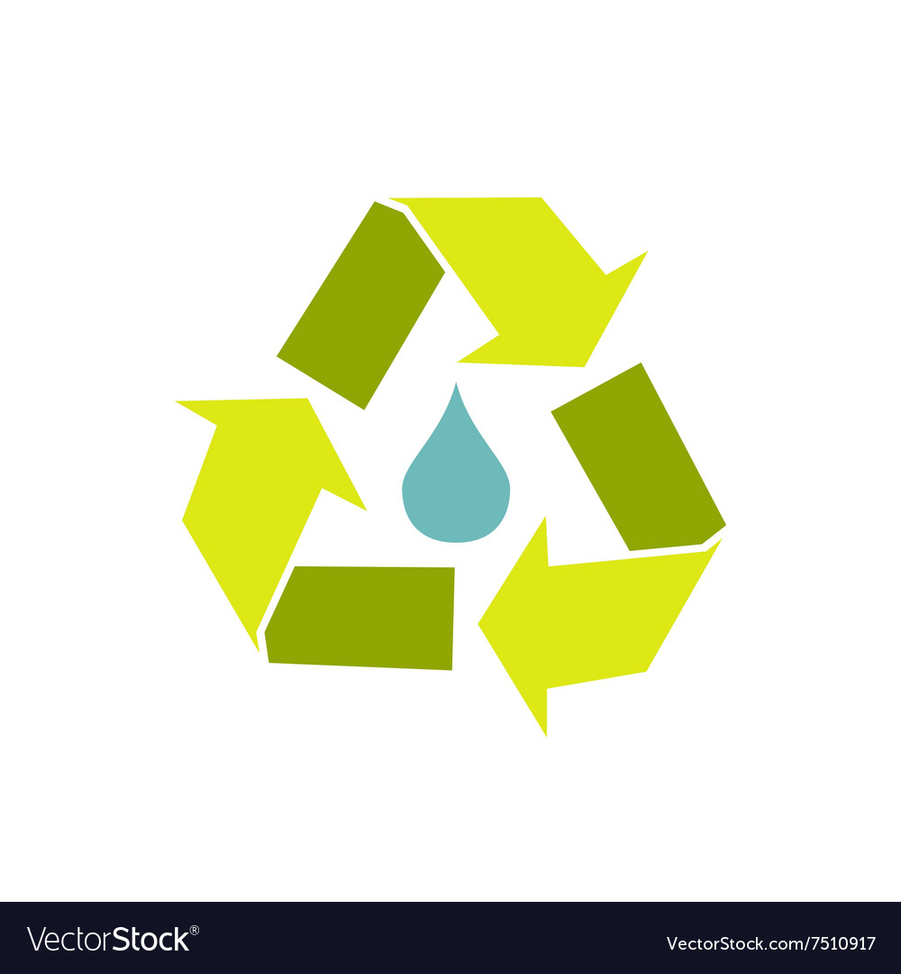 Water drop with recycle symbol vector