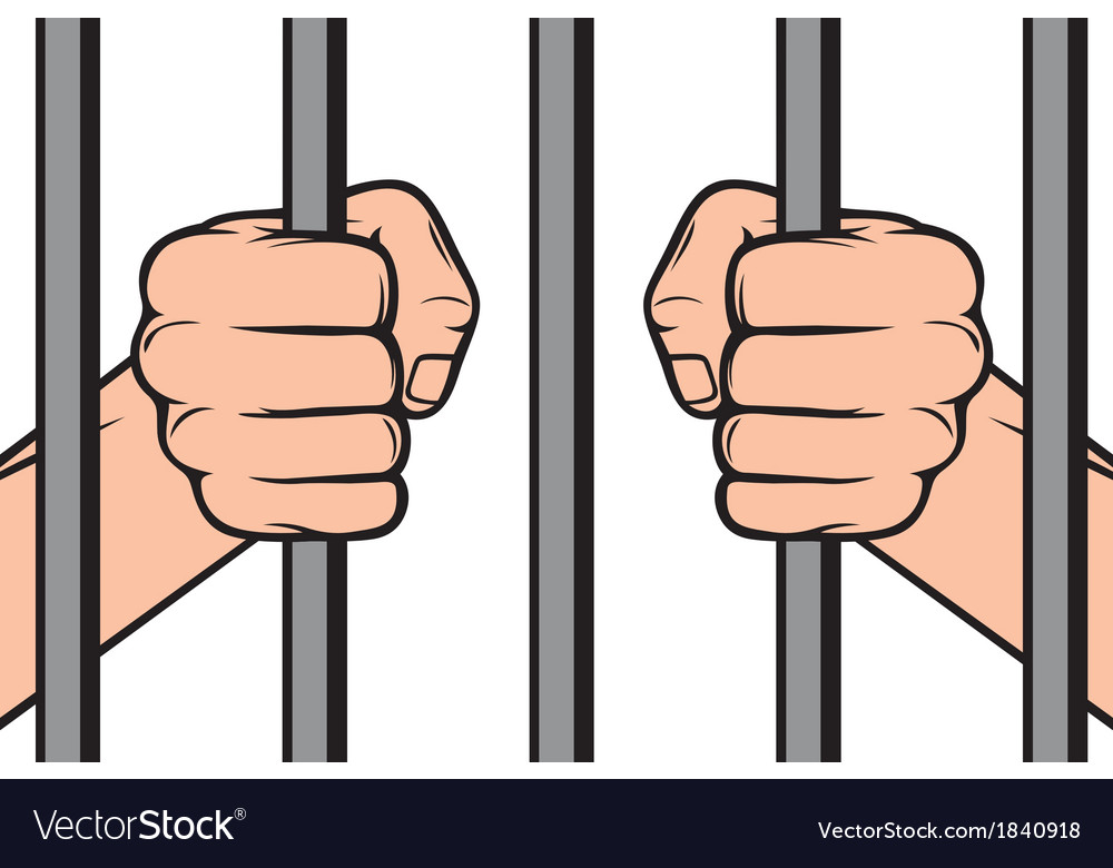 Hands holding prison bars vector